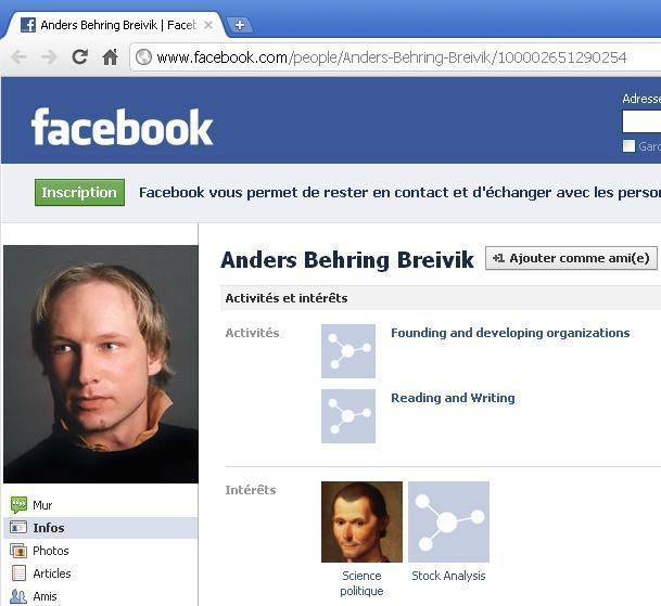 Profil d'Anders Behring Breivik sur FaceBook