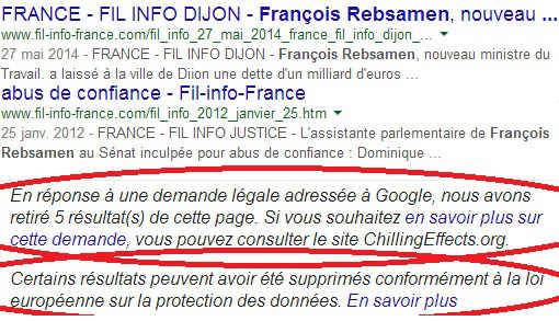 En réponse à une demande légale adressée par François Rebsamen, plusieurs pages de ce site ont été retirés sur Google.