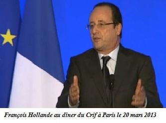François Hollande, dîner annuel du CRIF, 2013