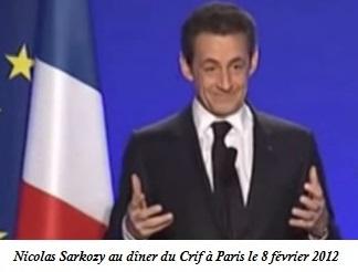 Nicolas Sarkozy, dîner annuel du CRIF, 2012