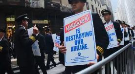 Manifestation de pilotes de lignes à New York