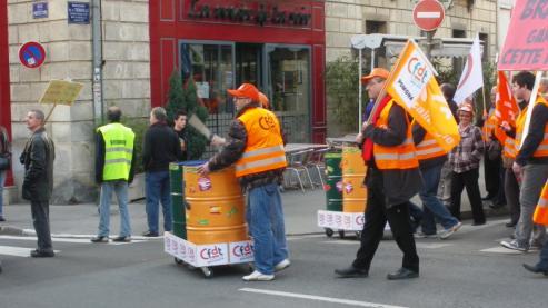 """syndicat """"CFDT Pomona"""" au slogan """"gardez cette force"""" à la manifestation de Dijon contre la réforme des retraites"""