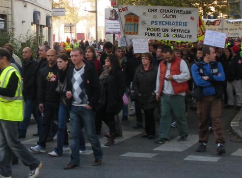 """syndicat """"CGT CHS Chartreuse Dijon, Psychiatrie pour un service public de qualité"""" à la manifestation de Dijon contre la réforme des retraites"""
