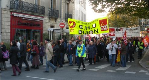 """syndicat """"CGT CHU de Dijon"""" à la manifestation de Dijon contre la réforme des retraites"""