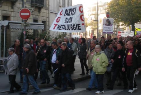 """syndicat """"CGT Parvex Dijon métallurgie"""" à la manifestation de Dijon contre la réforme des retraites"""