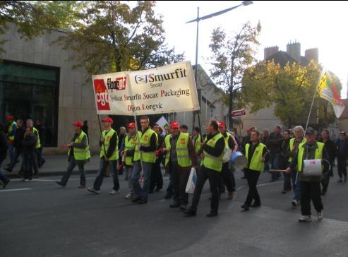 """syndicat """"CGT filpac Smufrit Socar Packaging Dijon Longvic"""" à la manifestation de Dijon contre la réforme des retraites"""