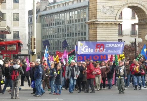 """Syndicat """"FO Cermex métallurgie"""" à la manifestation de Dijon contre la réforme des retraites"""