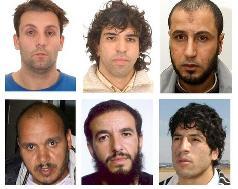 Plusieurs accusés des attentats du 11 mars 2004 à Madrid : Emilio Suarez Trashorras, Jamal Zougam, Rabei Osman, Hasan al Haski, Youssef Belhadj et Abdelmajid Bouchar